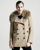 Adam Fur-Collar Pea Coat