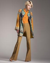 Etro Printed Linen Jacket, Silk Blouse & High-Waist Flared Pants