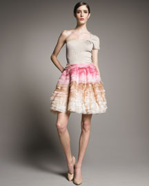 Lela Rose Cashmere One-Shoulder Top & Tiered Organza Skirt