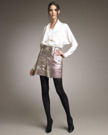 Lanvin Extended-Collar Blouse & Golden Metallic Shorts