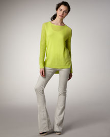 Theory Perforated-Sleeve Sweater & Flared Jeans