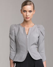 Giorgio Armani - Pleated-Shoulder Jacket :  jacket grey gray pleated