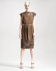 Jean Paul Gaultier Plisse Lace-Inset Dress