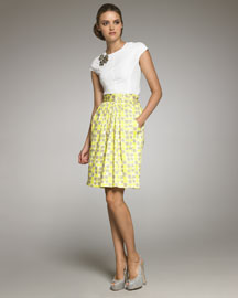 Lela Rose Printed Draped Skirt