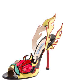 Prada Rose-Toe Flame Sandal