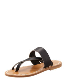 Nehru Crisscross Toe Ring Flat Sandal, Black