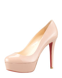 Bianca Almond-Toe Platform Red Sole Pump, Nude