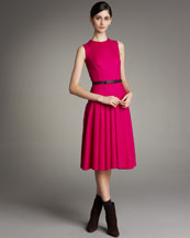 Akris Pleated Belted Dress