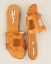 Manolo Blahnik Flat Leather Slide