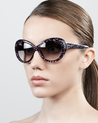 Valentina Panther-Print Oversized Oval Sunglasses, Gray