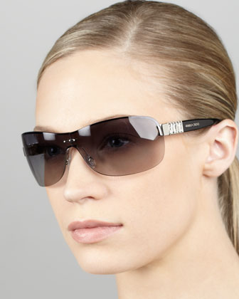 Gradient Shield Sunglasses, Gray/Palladium