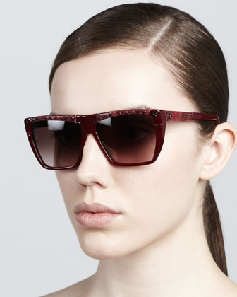 Mix-Pattern Sunglasses, Bordeaux