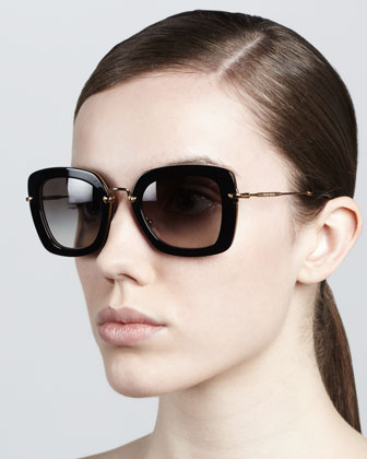 Glam Thick-Rim Sunglasses, Opal Gray