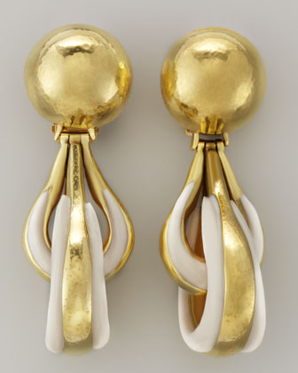 Green Gold-Plate Bone Drop Clip Earrings