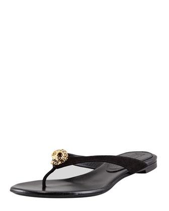 Skull-Detail Suede Thong Sandal, Black