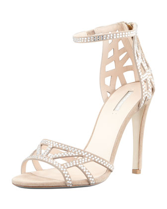 Crystal Evening Sandal, Champagne