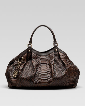Sukey Python Shoulder Bag -                                 Bergdorf Goodman :  handbag bag brown goldtone