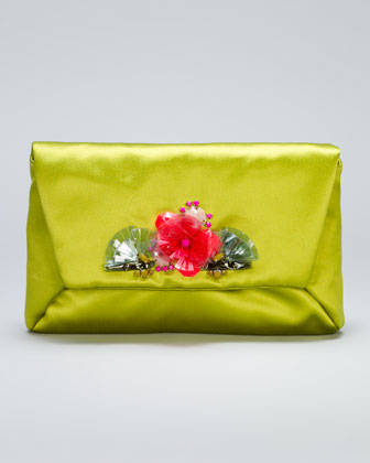 Mai Tai Flower-Front Satin Clutch Bag, Green