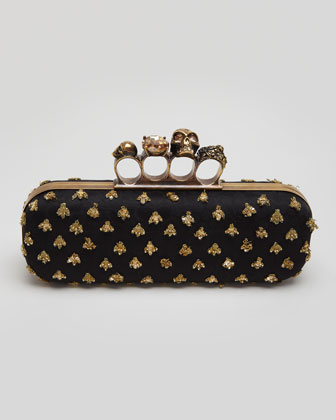 Bees Long Knuckle Box Clutch Bag