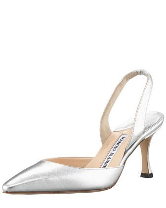 Carolyne Napa Mid-Heel Halter, Metallic Silver