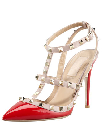 Rockstud Two-Tone Patent Sandal, Red