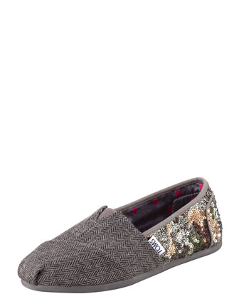 Sequin Wool Slip-On
