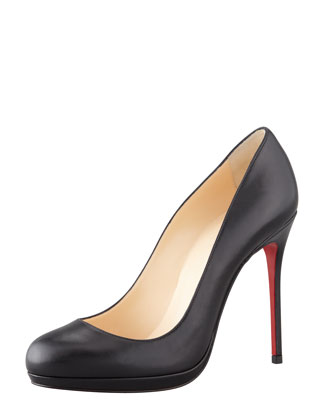 Filo Leather Red Sole Pump, Black