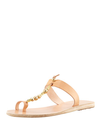 Iris Beaded Vachetta Toe Ring Flat Sandal, Natural