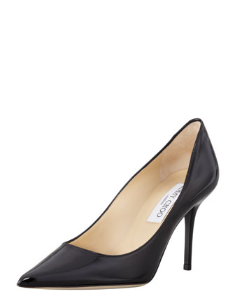 Agnes Pointed-Toe Patent Pump, Black