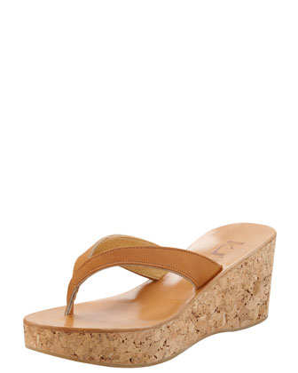 Diorite Cork Wedge Thong, Natural
