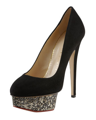 Dolly Crystal-Encrusted Platform Pump