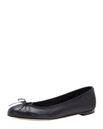 Leather Bow Ballerina Flat, Blue