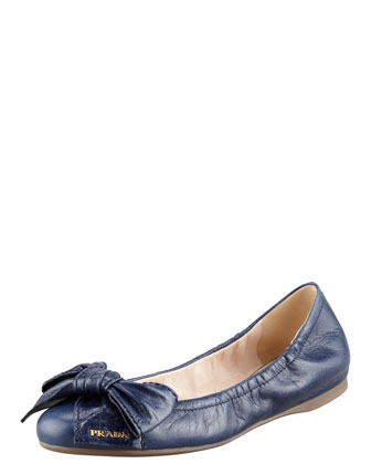 Leather Logo Bow Scrunch Ballet Flat, Blue