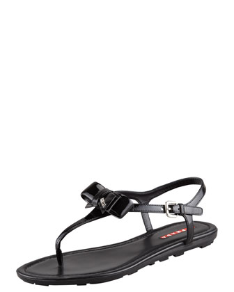 Patent Leather Bow Thong Sandal, Black