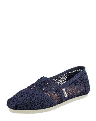 Crochet Slip-On, Navy