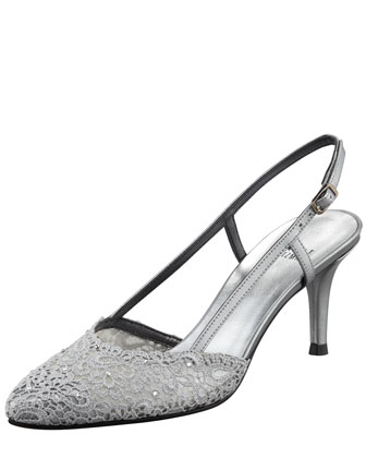 Lady Lace Kitten-Heel Slingback Pump
