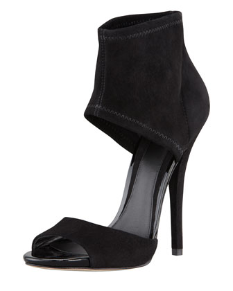 Correns Suede Ankle-Band Sandal, Black
