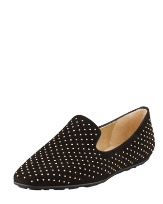 Wheel Studded Suede Smoking Slipper