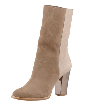 Music Mixed-Media Ankle Bootie, Taupe