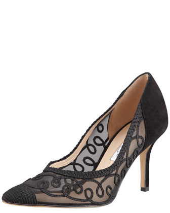 Artha Swirl Mesh Point-Toe Pump