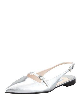 Metallic Mary-Jane Flat