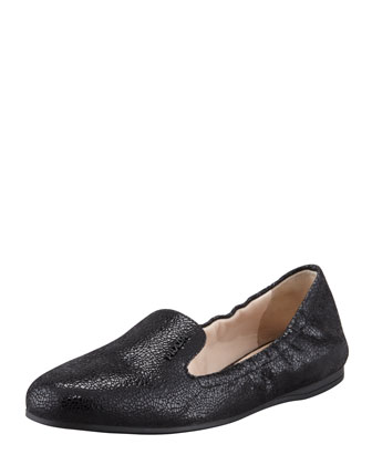 Crackled Leather Smoking Slipper, Black