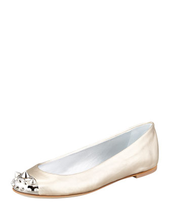 Spike-Toe Ballerina Flat, Gold