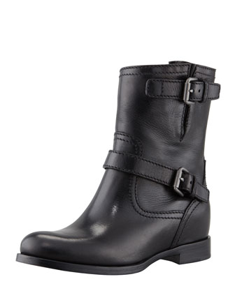 Double-Buckle Hidden Wedge Ankle Boot, Black