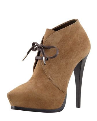 Suede Pointed Lace-Up Bootie, Kaki Clair