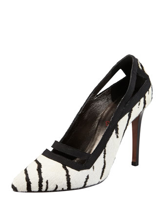 Tiger-Print Calf Hair Pump, White/Black