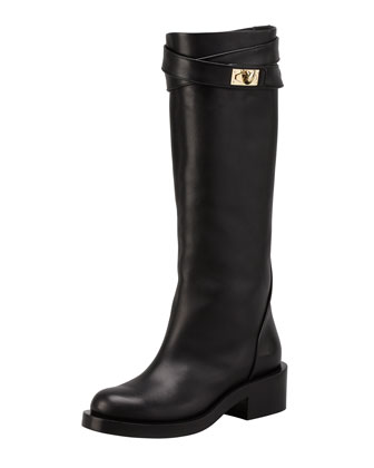 Leather Shark-Lock Riding Boot