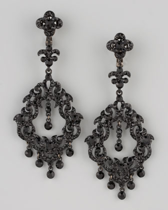 Chandelier Earrings, Jet Black