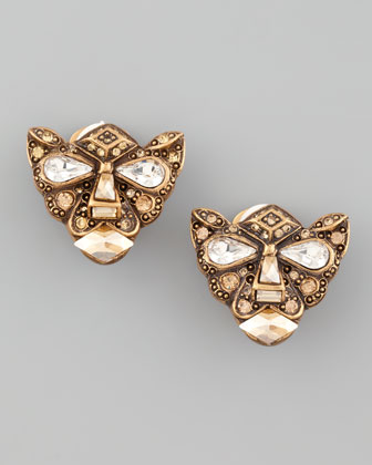 Crystal Panther Clip Earrings