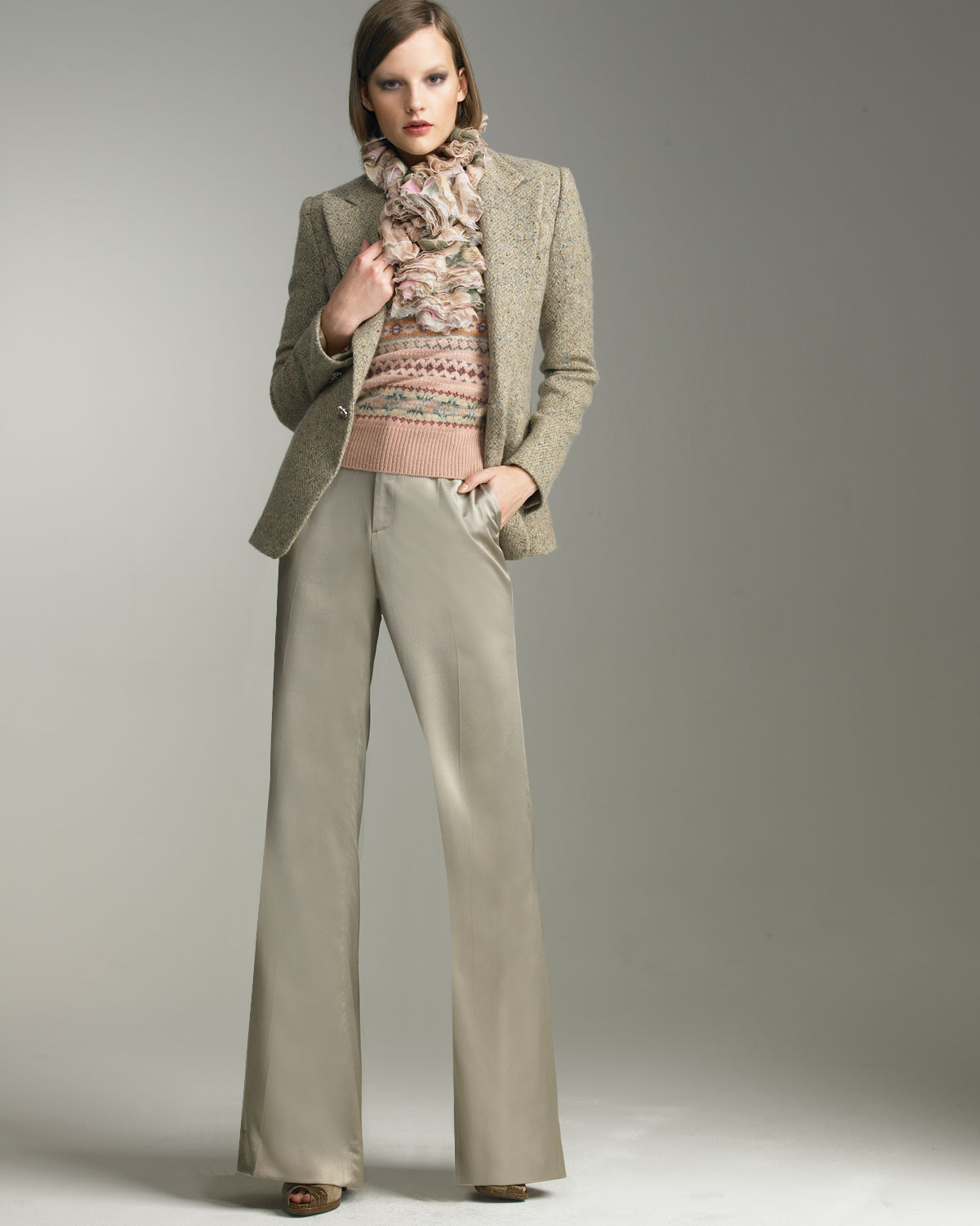 Pauline Jacket & Courtney Satin Pants - Ralph Lauren - Bergdorf Goodman :  long sleeve bergdorf goodman satin tweed